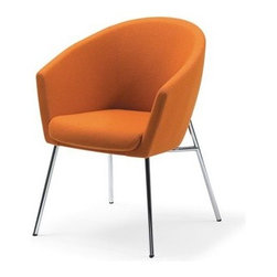 """Artifort - Megan Chair by Ren� Holten - An elegant armchair for conference room or dining room. The seating shell is closed, with an open base available in chrome or powder coating. Either as a low armchair with four legs or a sledge base or as a conference chair on castors, the Megan is always comfortable. Features: -Chairs collection. -Available in several fabric options. -Base in chromium. Specifications: -4-Legged Chair Dimensions: 32.28"""" H x 24"""" W x 25.59"""" D. -4-Legged Chair Seat Height: 18.5"""". -4-Legge Low Chair Dimensions: 29.92"""" H x 24"""" W x 25.59"""" D. -4-Legge Low Chair Seat Height: 16.9"""". -Sledge Chair Dimensions: 33.46"""" H x 24"""" W x 25.59"""" D. -Sledge Chair Seat Height : 18.5"""". -Sledge Low Chair Dimensions: 29.92"""" H x 24"""" W x 25.59"""" D. -Sledge Low Chair Seat Height : 16.9""""."""