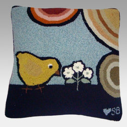 Thorndike Mills - Susan Branch Baby Chicks Pillow Multicolor - SB-0060 - Shop for Pillows and Shams from Hayneedle.com! The Susan Branch Baby Chicks Pillow is perfectly darling for entryways bedrooms and cafes and has an adorable retro-style design of baby chicks on a slate blue background. This extra-large pillow is hand-hooked from wool at 90 lines per square foot for a dense rich texture and backed in velveteen for softness. It measures 18L x 18W inches. A built-in 15-inch zipper lets you remove the polyester fiber insert for easy cleaning of the pillow cover as needed. Designed for indoor use in residential or commercial settings.About Thorndike MillsRooted in a proud Armenian family tradition Thorndike Mills developed in Boston during the first half of the 20th century. Their dedication to the quality traditions of Armenian rug-making remains true today. With an emphasis on exact specifications materials that meet high levels of quality and rigorous construction standards they're a top producer of braided rugs for homes and businesses across America. Thorndike Mills is the only manufacturer who still produces true cloth braided rugs made with three strands woven together and then wrapped; the next best option would be a handmade rug. The true quality of the rugs lies in the little details like hidden joints guaranteed color matching perfect symmetry of design and durable lock-stitch sewing. Thorndike Mills is still owned today by the third generation of the founding family.About Susan BranchSusan Branch is a self-taught artist from the Martha's Vineyard area who creates delicate organically inspired works that celebrate nature and simplicity. She has previously been featured in magazines including Country Living and American Patchwork and Quilting. Susan is best known for her beautiful watercolor illustration work which graces her 14 published books as well as a line of china stationery pajamas and her popular yearly calendar.