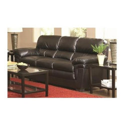 Coaster - Fenmore Casual Sofa in Black - Long-lasting and durable leather-like fabric. Wide double pillow arms. Attached back. High split back cushions for support. Plush square seat cushions for comfort. Exposed wood accent legs in casual block style. Durable wood frame. Sinuous spring seating for comfort and durability. High resilience foam seating. Seat depth: 21 in.. Seat height: 21.5 in.. Overall: 89 in. L x 36 in. W x 39 in. H. WarrantyCreate a casual yet sophisticated living room with this generously cushioned stationary sofa.