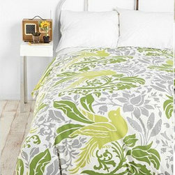 Flourish Bird Duvet Cover - I love the kelly green with the gray — beautiful colors.