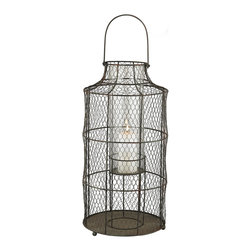 Lazy Susan - Chickenwire Aged Iron Large Hurricane - Chickenwire Large Hurricane