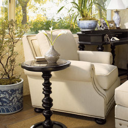 Lexington Home Brands - Pitcairn Accent Table - Always at the ready, standing at attention near your favorite seat. The gorgeous turned pedestal supports a wood-framed stone top, the perfect place for your drink or the latest travel tome