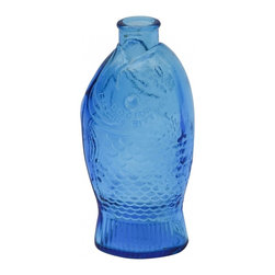 Blue Fish Bottle - Cobalt blue vintage Dr. Fisch's Bitters bottle. A great addition to any blue glass collection. The perfect vessel for a boquet of fresh white daisies.