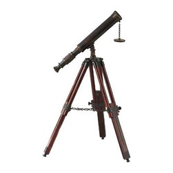 ecWorld - Replica Antique Brass & Wood Tabletop Telescope - This authentic-looking antique telescope comes with full 10X power and is mounted on a deluxe adjustable tripod antique-style dark wood tripod with aged brass accents. The telescope has a full 360-degree viewing range.