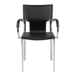 Eurostyle - Vinnie Arm Chair (Set Of 2)-Blk/Chrm - Regenerated leather seat, back and armrests
