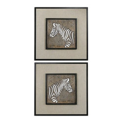Carolyn Kinder - Carolyn Kinder Zebra Square Wall Art X-07670 - Laser cut metal finished in heavily antiqued ivory with a dark bronze, crackled outer rim and a beige linen background.