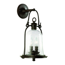 Troy Lighting - Troy Lighting Owings Mill Traditional Outdoor Wall Sconce X-BN2649B - An Old World lantern adds nostalgia and ease to your porch or walkway. That's why we're pleased to offer you the Troy Lighting Owings Mill Traditional Outdoor Wall Sconce - TL-B-9462-NB. Hand forged iron with a natural bronze finish provides exceptional quality and durability. The dual candelabra encased in clear seeded glass creates a welcoming atmosphere.