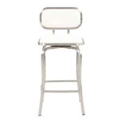 Chintaly Imports - White Modern Swivel Counter Stool - Modern style swivel stool. Available in Counter Height or Bar Height. It has a brushed stainless steel finish. Your choice of Black or White Polyurethane cushioned seat and back.