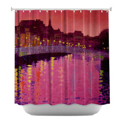 DiaNoche Designs - Shower Curtain Artistic - Twilight Ha Penny Bridge Dublin - DiaNoche Designs works with artists from around the world to bring unique, artistic products to decorate all aspects of your home.  Our designer Shower Curtains will be the talk of every guest to visit your bathroom!  Our Shower Curtains have Sewn reinforced holes for curtain rings, Shower Curtain Rings Not Included.  Dye Sublimation printing adheres the ink to the material for long life and durability. Machine Wash upon arrival for maximum softness. Made in USA.  Shower Curtain Rings Not Included.