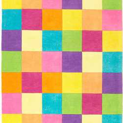 """KAS - KAS Kidding Around 420 Girls' Color Blocks (Multicolor) 3'3"""" x 5'3"""" Rug - Bring out the kid in you as you frolic through our Kidding Around Collection. Hand-tufted in India of 100% Wool, these rugs give toddlers and teens a place to relax and play around with friends. Fun and colorful themes give these rugs a playful look and feel."""