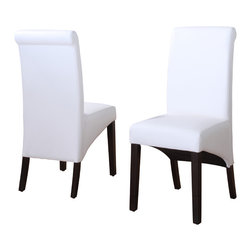 Modus Furniture International - Cosmo Sleigh Back Chair in Cloud (Set of 2) - In Brazil, to do something with bossa is to do it with particular charm and natural flair. Available in counter and dining height with 48 and 54 inch tops, Bossa tables pair straight lined architectural bases with round floating tops, built out edge bands and book matched veneer surfaces. Parsons chairs, banquettes and kitchen counter stools are available in several fresh colors and blend transitional button tufting with a contemporary profile, upholstery application and wood finish. The result is an urban contemporary casual dining set designed with ample bossa.