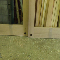 Custom shopping mall entry doors - Here you can see the prep for the lower floor deadbolt locks.