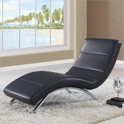 Global Furniture - Leather Chaise Lounge in Black - R820-R2V-BL - Modern design