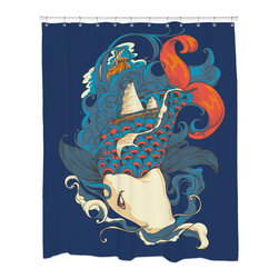 Sharp Shirter - Sharp Shirter Fish and Ships Shower Curtain - This curtain is printed in USA!. Hooks sold separately. Disclaimer: If you order multiple items, they may ship from separate locations.