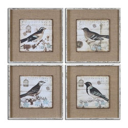 Grace Feyock - Grace Feyock Black and White Birds Wall Art, Set of 4 X-80055 - Images are printed on boards then mounted on medium sand colored linen fabric. Frames are heavily distressed in white with medium brown undertones and a gray wash. Set of 4