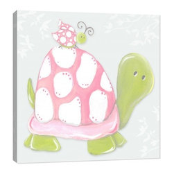 "Doodlefish - Blue Sky Turtle - The Pink Lady collection features a cute pink lady bug that is visiting her friends.  This 18"" x 18"" Stretched Canvas Giclee is gallery wrapped and ready to hang or can be mounted and framed in a painted frame.  The Profile of a beautiful pink and green butterfly is the focal point of the artwork by Regina Nouvel.  The backdrop of this wall art is a soft blue with tree silhouettes.  This artwork can be personalized with your child's name.  Mix and match with the three other pieces or create a collection of all four.  The finished size of the mounted piece is approximately 22""x22""."