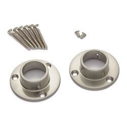 Straight Shower Rod Flanges - When installing a shower curtain rod, you can enjoy the security of these durable brass Shower Rod Flanges. Sold in sets of two, the flanges feature a beautiful finish that complements other hardware in your bathroom.