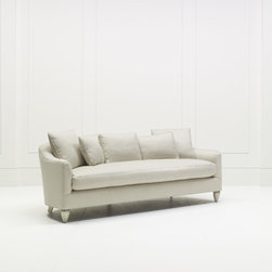 Baker Furniture - Soiree Sofa - Gracious and  inviting, the Soiree Sofa is defined by a sweeping silhouette of subtle curves. The deep seat and tight back are supported by three custom-sized down pillows.  Melon-shaped carved wood foot. Also available skirted (6702S).