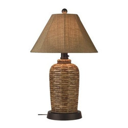 South Pacific Outdoor Table Lamp - Enjoy a little island inspiration with the South Pacific Outdoor Table Lamp. This outdoor lamp features a bamboo design made of durable, all-weather resin. It adds attractive illumination via a 2-level dimming switch and a single 100-watt bulb (bulb not included). It's completely weatherproof with an unbreakable polycarbonate waterproof cover. Comes complete with a 16-foot cord for easy placement.About Greenway Home ProductsGreenway Home Products is a diversified home products company that designs, develops, manufactures, and markets an extensive line of residential appliances. The extensive line-up of products includes water dispensers, water treatment accessories, laundry racks, solar fountains, wine cabinets, and electric fireplaces, all of which incorporate cutting-edge design and technology. Designed and engineered in Canada, all of Greenway's products are made with a strong commitment to design and innovation.