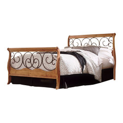 Fashion Bed - Fashion Bed Dunhill Sleigh Bed in Honey Oak with Autumn Brown Finish-Queen - Fashion Bed - Beds - B91D05 - Taking advantage of that warm wood/metalwork combination the Dunhill Bed features a wood headboard and footboard with entwined scroll work detailing. This sleigh-style bed will be an ideal addition to a traditional country or contemporary bedroom suite.