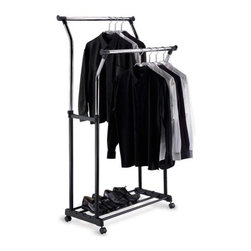 Organize It All - Double Adjustable Garment Rack - Our double adjustable garment rack is a great rack to store all kinds of garments. Hang multiple dress shirts, pants, sweaters, t-shirts, or jackets on this garment rack. Strong steel tubed black and chrome poles can hold over 200lbs. of garments without buckling or breaking. Adjustable feature on both racks allows racks to be adjusted to desired heights and wheels allow for easy movement. The steel tubes on the bottom can provide extra storage space for shoes.