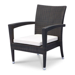 None - Zen Lounge Chair - Add a stylish touch to your outdoor space with this luxurious lounge chair. An espresso weave finish, comfortable cushions and a weather-resistant construction highlight this chair.