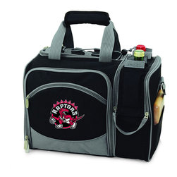 """Picnic Time - Toronto Raptors Malibu Picnic Pack in Black - Insulated pack with picnic service for 2 made of 600D polyester canvas. The elegant and unique Malibu shoulder pack is perfect for picnics, concerts, or travel. This tote has an integrated wine storage section and a spacious food storage section with removable liner. The adjustable shoulder strap makes it easy to carry. A wonderful gift idea.; Decoration: Digital Print; Includes: 2 plates (melamine, 9"""", Nouveau Grapes design), 2 wine glasses (acrylic, 8 oz.), 4 napkins (100% cotton, 14 x 14"""", Nouveau Grapes design), 2 (18/0) stainless steel forks, knives, and spoons, 1 hardwood cutting board (6 x 6""""), 1 stainless steel cheese knife with wooden handle, and 1 stainless steel waiter-style corkscrew"""