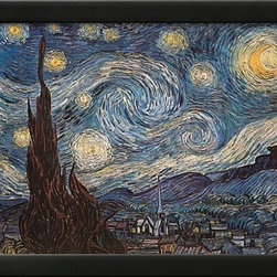 Artcom - Starry Night, White Border, Text by Vincent van Gogh - Starry Night, White Border, Text by Vincent van Gogh is a Framed Art Print set with a SOHO Thin wood frame.