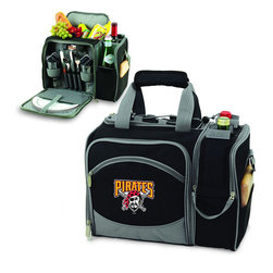 """Picnic Time - Pittsburgh Pirates Malibu Picnic Pack in Black - Insulated pack with picnic service for 2 made of 600D polyester canvas. The elegant and unique Malibu shoulder pack is perfect for picnics, concerts, or travel. This tote has an integrated wine storage section and a spacious food storage section with removable liner. The adjustable shoulder strap makes it easy to carry. A wonderful gift idea.; Decoration: Digital Print; Includes: 2 plates (melamine, 9"""", Nouveau Grapes design), 2 wine glasses (acrylic, 8 oz.), 4 napkins (100% cotton, 14 x 14"""", Nouveau Grapes design), 2 (18/0) stainless steel forks, knives, and spoons, 1 hardwood cutting board (6 x 6""""), 1 stainless steel cheese knife with wooden handle, and 1 stainless steel waiter-style corkscrew"""