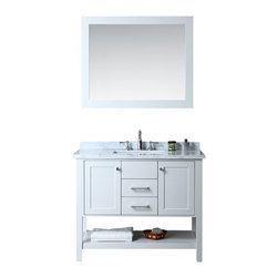 "Ariel - Bayhill 42"" Single-Sink Bathroom Vanity Set - Simple. Modern. Timeless. These are the words most often associated with our Bayhill collection.  The cloud grey finish on this 42"" vanity is stunning and pairs marvelously with the white carrera marble countertop.  Two doors and two sliding drawers provide generous storage space for all your bathroom essentials."