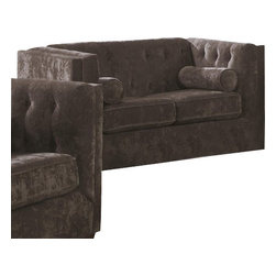 "Coaster - Love Seat (Charcoal) By Coaster - Make a statement in your living room with this transitional-style Chesterfield sofa. Framed by high track arms and tapered wood feet, this loveseat creates a crisp, clean silhouette in any room. In addition, a button-tufted back incorporates a traditional touch for an overall mix of contemporary and classic styles. Finally, cylindrical lumbar pillows complete the look and feel of this Chesterfield sofa. This listing is for the loveseat only. Dims: 61"" X 32.5"" X 35""."
