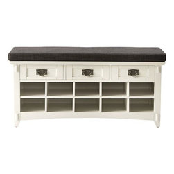 Home Decorators Collection - Artisan Bench with Shoe Storage - Expertly made for your entryway or mudroom, our Artisan Bench with Shoe Storage offers a comfy seat so you can relax while you tie your laces and plenty of storage cubbies for your shoes. Quality crafted, this handsome piece from our popular Artisan Collection will complete your decor and update your style. Arrives fully assembled. 3 drawers. 10 shoe cubbies. White finish option comes with dark grey linen cushion. Other options include dark brown bonded leather cushion.