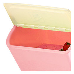 Trinket Tamer - The Storage Bins, Pink, Medium - these storage bins come with a plastic flap lid and a set of clear sticker labels for you to easily identify what is stored within. organization made easy and stylish.available in small, medium and large sizes and in pink, blue, yellow, and green