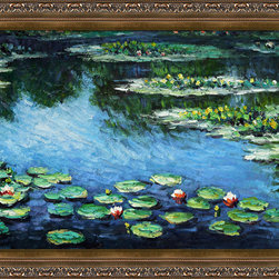 overstockArt.com - Monet - Water Lilies Oil Painting - Easily recognizable, Water Lilies by Claude Monet has been carefully redone to near perfection with color and brush stroke detailing. The Water Lilies painting is actually a series of 250 oil paintings by Monet. They depict Monet's garden in Giverny and were the main subjects of his paintings later in his career. Monet, a French Impressionist, was born in Paris is 1840, and pursued his passion for painting from the start befriending fellow Impressionist artists. The outdoors clearly inspired Monet to take most of his subject matter from nature's beauty. His use of realistic colors and attention to detail still inspire painters today. This beautifully reproduced painting will work in many rooms in your home. Order it today and start your own collection of Monet masterpieces.