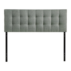 Modway Furniture - Modway Lily Queen Headboard in Gray - Queen Headboard in Gray belongs to Lily Collection by Modway Introduce some boxy pizazz with the lavish design of the Lily headboard. Intended to be versatile for a wide range of modern bed styles, Lily's deep button tufting, and carefully aligned trim, present a uniform piece meant to cast prominence upon your room. Fully upholstered in padded faux leather, Lily is a narrow piece meant to convey a strong sense of expansiveness within your entire surroundings. Set Includes: One - Lily Headboard Headboard (1)