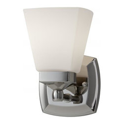 Feiss - Feiss Delaney One Light Polished Nickel White Opal Etched Glass Bathroom Sconce - This One Light Bathroom Sconce is part of the Delaney Collection and has a Polished Nickel Finish and White Opal Etched Glass. It is Damp Rated.