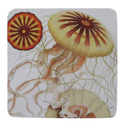 Golden Hill Studio - Jelly Fish Coaster, Set of 4 - This is a wonderful antique print on a super absorbent neoprene coaster.  Made, printed and assembled in the USA!