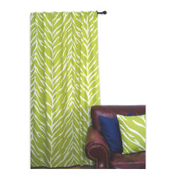 ez living home - EZ Living Home Zebra Window Panel 84L Cream on Lime - *Timeless and classic zebra pattern with a modern touch; complements existing room decoration.