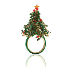 Green and Red Bead Christmas Tree Napkin Ring - Each - A clever use of top-of-the-line glass fringe beads in green and gold creates a stylized impression of iconic, fragrant evergreen branches that makes up these whimsical yet lovely napkin rings.  One option is the shape of the classic conifer Christmas tree, with classic red baubles dotted beautifully over its glass needles; the other resembles the annual door wreath and is adorned with a sweet trio of golden bells to evoke the spirit of your best-remembered holiday.