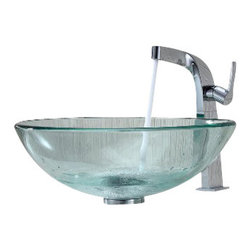 Kraus - Kraus Clear Glass Vessel Sink and Typhon Faucet Chrome - *Add a touch of elegance to your bathroom with a glass sink combo from Kraus