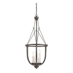 """Epoque 35""""H Large Foyer Lantern - From The Epoque Collection, This Three-Light Pendant Is Industrial Chic With Wire Suspension Cables And A Textured Antique Nickel Finish. Weight: 13. 30 lbsFinish: Antique NickleBulb Wattage: 60Number of Bulbs: 5Candle Covers: Soft White Candle CoverType of Bulb: CBulbs Included: NoSafety Rating: UL, CULVoltage: 120"""