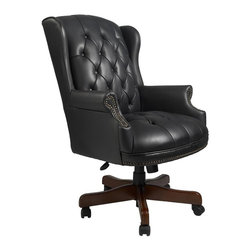 BOSS Chair - Wingback Traditional Office Chair in Black Vi - This traditional black, button tufted leather chair conjures up images of distinguished men smoking authentic cigars with vintage music playing in the background. Beautifully crafted to reflect a classic style, this wingback swivel chair boasts fine details like hand applied brass nails, rich mahogany wood finish on wooden components. Perfect for your study, den or office. Classic traditional button tufted styling. Elegant Mahogany wood finish on all wood components. Hand applied brass nails. Pneumatic gas lift seat height adjustment Oxblood vinyl (BY) or Black vinyl (BK). Cushion color: Black. Base/wood: Mahogany. Seat size: 23 in. W x 20 in. D. Seat height: 19 in. -22 in. H. Arm height: 25 in. -28 in. H. Overall dimension: 30 in. W x 32 in. D x 41-44 in. H. Weight capacity: 250 lbs