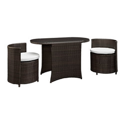 LexMod - Katonti 3 Piece Outdoor Patio Dining Set in Brown White - Katonti's intimate dimensions reveal an outdoor patio set with an inner world of opportunity. Perfect for use in a private setting, or outdoor seating for a trendy restaurant; Katonti exudes boundless chances for myriad conversations and animated debates. Whether a business meeting with a treasured client or a last minute lunch with a friend, pull up the cylindrical shaped chairs and celebrate success around the elliptic tempered glass top table.