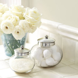 Ballard Designs - Apothecary Jar - Store cotton balls and Q-tips in style with these glass apothecary jars. The silver tops are a glamorous touch.