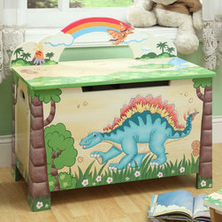 Teamson Kids - Dinosaur Kingdom Children's Toy Box - Travel back to the Jurassic period with dinosaurs large and small. Let your little explorers enjoy a foreign land full of adventure and excitement with our playful dinosaur theme. A volcanic landscape, home to some of the cutest dinosaurs known to man, make our dinosaur range fun and exciting, becoming the setting of a great game of imagination. Bring durable, lasting pieces, wonder and adventure into your child's playroom with a whole world of Jurassic creatures Features: -Toy chest features a secure lid with safety hinges and a spacious area for your child to store their toys.-Toy chest lowers slowly and is careful not to snag little ones fingers.-Top is sturdy and can be used as a seat when closed.-Genuine hand painted.-Artistically hand carved.-Very sturdy, safe and high quality design.-Perfect for ages 3 and up.-Dinosaur Kingdom collection.-Collection: Dinosaur Kingdom.-Distressed: Yes.Dimensions: -Overall Product Weight: 16.50 lbs.