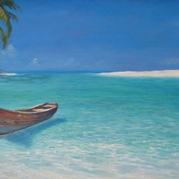 "Original 24"" X 72""  Tropical Seascape Oil Painting - Private Landing is an original 24""x72"" tropical oil painting on gallery wrap canvas and ready to hang as the center piece of your living area. This large original oil painting is for the person looking to make a design statement in their home. It will fill the room with the tropics."