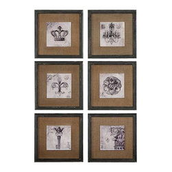 Uttermost Symbols Wall Art Set/6 - Center medallion has a gloss finish.  The frame is a heavily distressed black finish with brown and gray accents.  The mat is a medium brown burlap. Prints feature a glossy finish and are accented by medium brown burlap mats. Frames are finished in heavily distressed black with brown and gray accents.