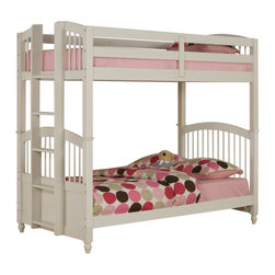 Powell - Powell May Twin/Twin Bunk Bed in White - Twin/Twin Bunk Bed in White belongs to May Collection by Powell The May Twin Size Bunk Bed features arched headboards and footboards. The top bunk features safety guardrails down both sides.  A sturdy and stable ladder is suspended from one end to allow your child to safely climb up and down.  Decorative feet finish off this simple styled bunk bed. Some assembly required.  End Panel (4) , Roll-out Slats , Guardrails & Ladder