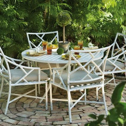 Caicos Five-Piece Dining Set by Home Decorators Collection - This wonderful faux bamboo dining set has Chinese Chippendale style for your outdoor living.