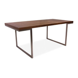 Moes Home Collection - Repetir Dining Table in Walnut Finish - Clean lines and a streamlined look bring an industrial, minimalist allure to this rectangular dining table, featuring stainless steel legs and a wood veneer top. Finished in walnut, the table is ideal for urban spaces and will be a sleek, inspired way to enhance your dining decor. Contemporary style. Made from walnut veneer with brushed stainless steel frame. 70 in. L x 35 in. W x 29 in. H